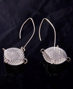Graphic Mesh Humbug Dangling Earrings