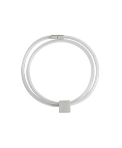 Graphic 8mm double necklace in transparent white