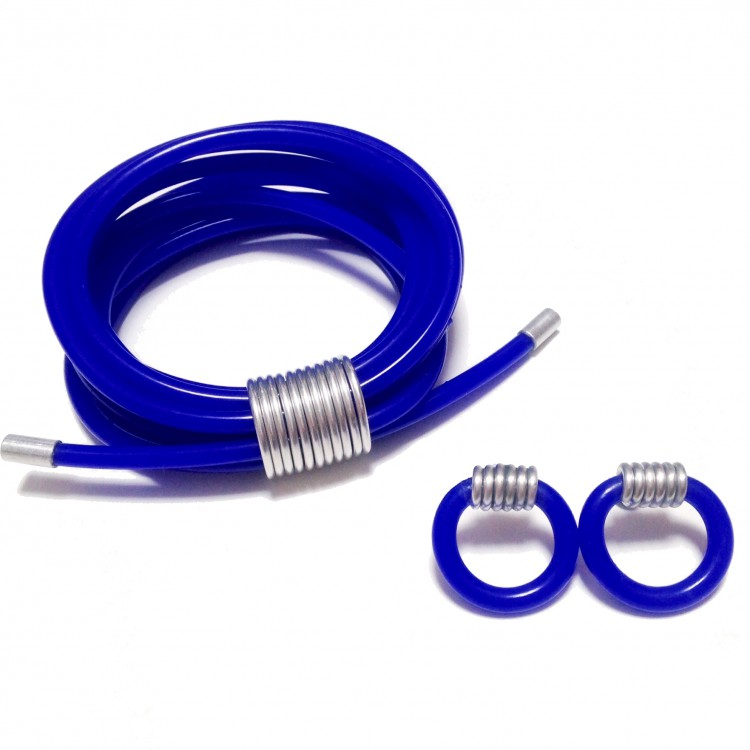Drape Collection - blue silicone bangle bracelet and earrings with sliding coil features