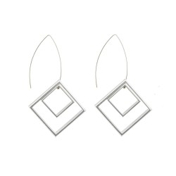 Graphic Collection - aluminium square Russian Doll Earrings