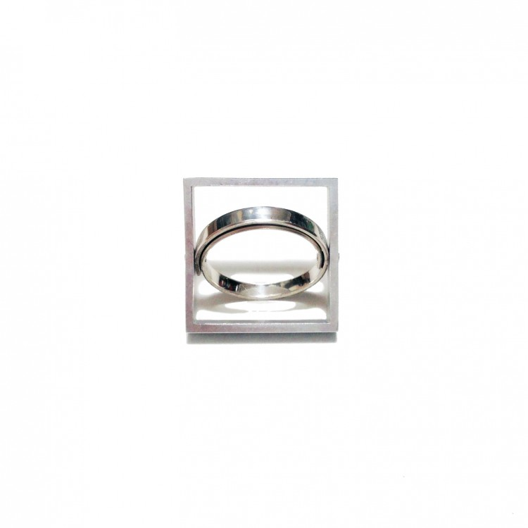 Graphic Collection - sterling silver and aluminium cocktail ring