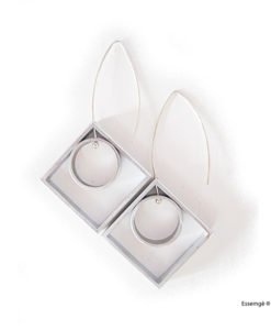 Graphic Collection - square and circle dangle earrings