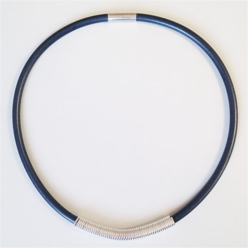 Drape Coil Single Row Necklace-charcoal