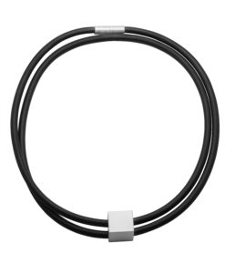 Graphic 5mm double necklace in black