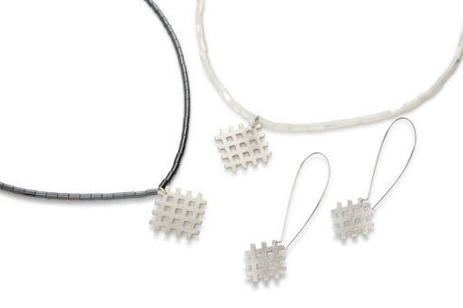 Grid Pendant Necklace with Matching Dangle Earrings