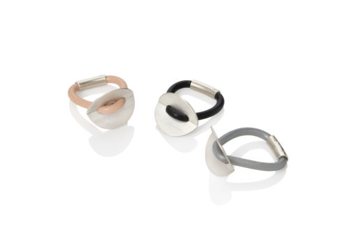 Folded Disc Button Rings - sterling silver and silicone rubber - nude, black, silver grey