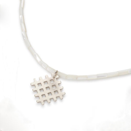 Grid Pendant Necklace - Silver and Mother Of Pearl - handmade in sterling silver and pearlescent white mother-of-pearl semi-precious stones - with a s-hook clasp