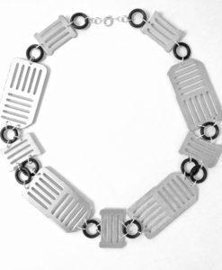 Large Brushed Aluminium Collar Necklace