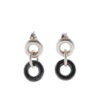 Cruise short dangle earrings - silver and charcoal grey hematite