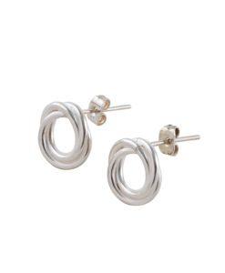 Russian Ring Stud Earrings - silver