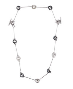 Multi-combination torus necklace - silver and charcoal grey hematite