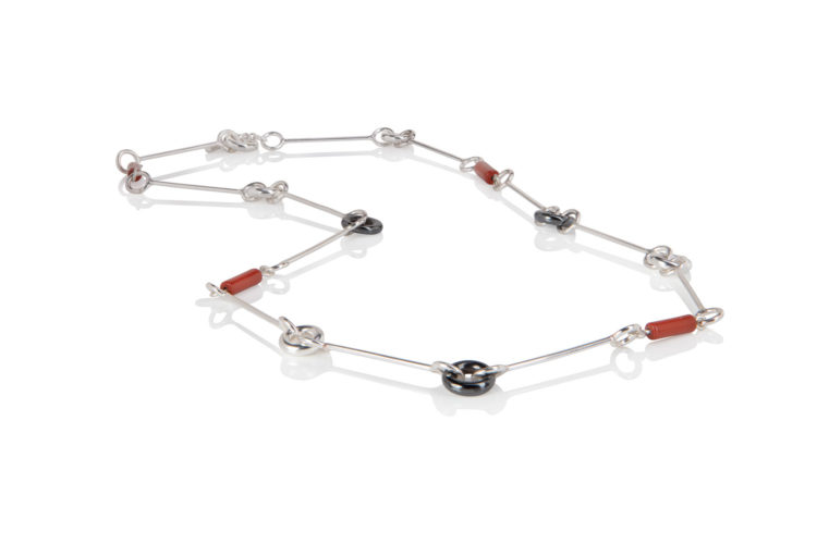 Cruise collection - opera necklace - sterling silver, hematite, red jasper