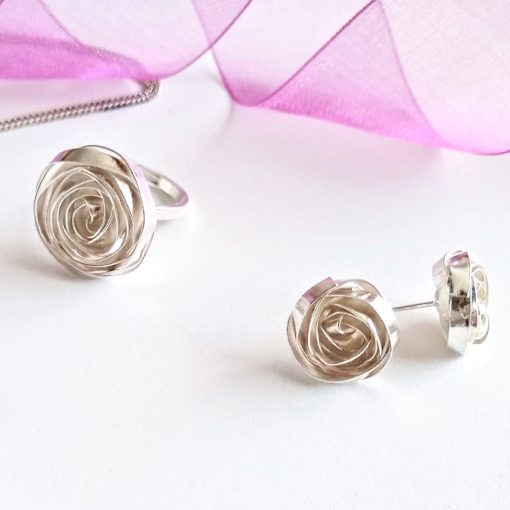 Romantic collection - rose ear studs and matching ring