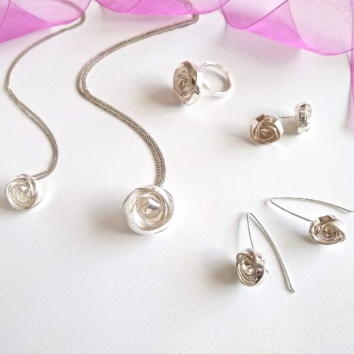 Romantic Rose Collection - Dangle Earrings with matching pendant necklaces , ring and ear studs