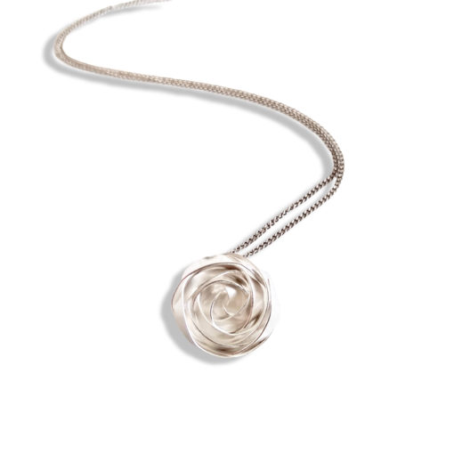 Romantic Rose Pendant Necklace - Small - sterling silver