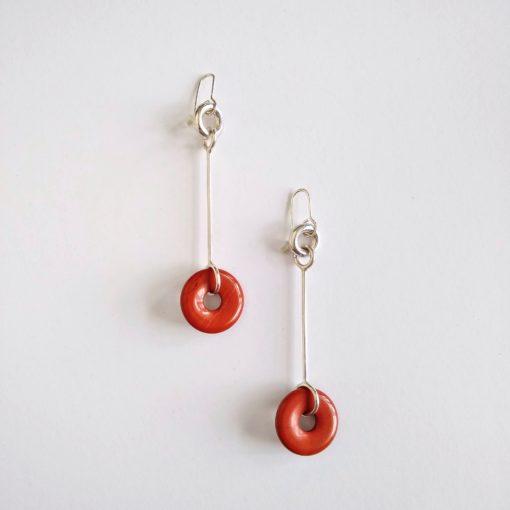 Cruise Long Dangle Earrings - Silver and Red Jasper