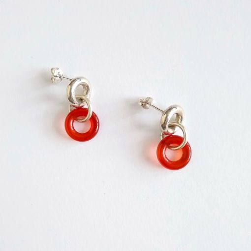 Torus Chain Dangle Earrings - Silver & Burnt Orange Carnelian