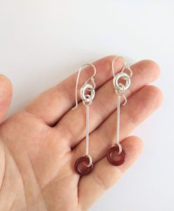 Cruise long dangle earrings - silver and burnt orange carnelian