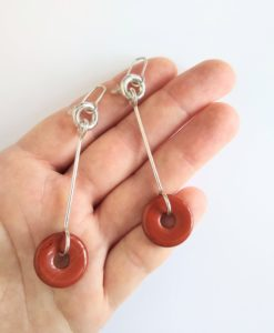 Cruise Long Dangle Earrings - Silver and Red Jasper