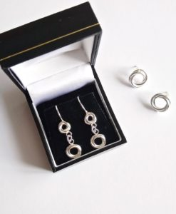 Romantic Modern Rose collection - Russian Style Dangle Earrings and Ear Studs - handmade in sterling silver