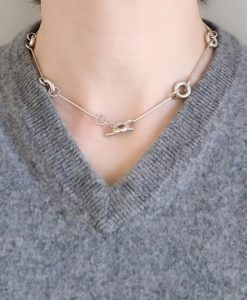 Silver Torus Chain Necklace - handmade to order by Essemgé - lifestyle shot on model