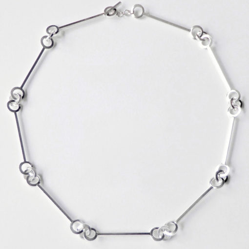 Multi-Combination Nought Chain Necklace - choker (short) variation - silver