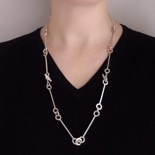 Multi-Transformable Nought Chain Necklace - opera (long) variation - silver - worn