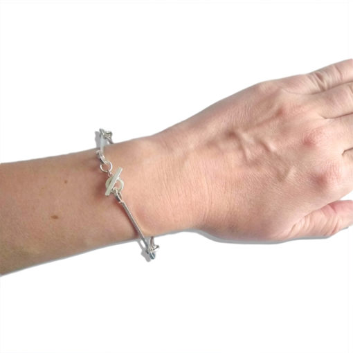 Nought Chain Bracelet - silver - worn