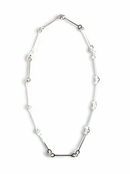 Nought Multi-Combination Necklace - silver - full set choker + extension chain bracelet on