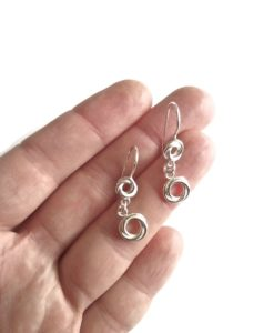 Russian Ring Dangle Earrings - silver