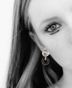 Silver and Hematite Dangle Earrings on model