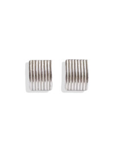 Spring Coil Striped Ribbed Ear Studs - Large