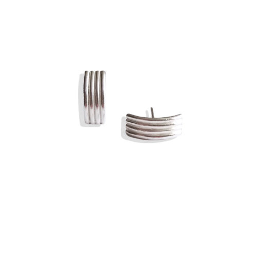 Spring Coil Striped Ribbed Ear Studs - Small