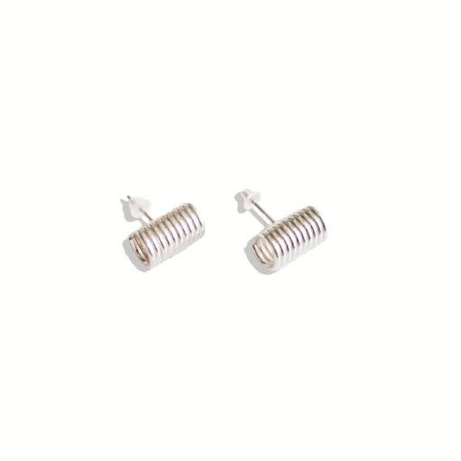 Spring Coil stud earrings - mini - silver