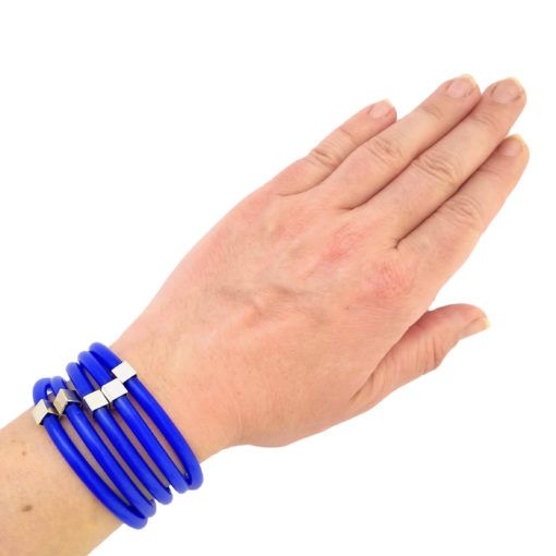 Multi Wrap Bracelet - sterling silver and silicone rubber - blue - worn