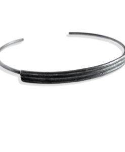 Striped Ribbed Open Bangle - Oxidised - from the Breton Stripes capsule range within the signature Spring Coil collection - 3 stripes in solid sterling silver