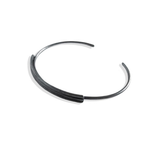 Striped Ribbed Open Bangle - Oxidised - from the Breton Stripes capsule range within the signature Spring Coil collection 3 stripes in solid sterling silver
