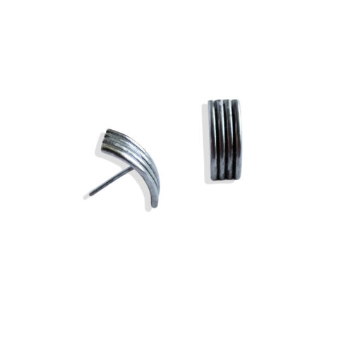 Striped Ribbed Ear Studs - Small - Oxidised from the Breton Stripes capsule range within the signature Spring Coil collection 4 stripes in solid sterling silver