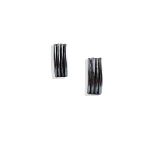 Striped Ribbed Stud Earrings - Mini - Oxidised