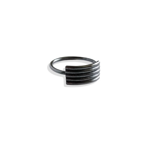 Striped Ribbed Ring - Classic variation (5 stripes) - oxidised silver - from the Breton Stripes capsule range part of our signature Spring Coil collection