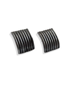 Striped Ribbed Ear Studs - Large - Oxidised from the Breton Stripes capsule range within the signature Spring Coil collection 8 stripes in solid sterling silver