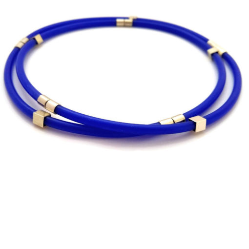 Multi Wrap Bracelet - sterling silver and silicone rubber - blue - in its 2 strand choker necklace version