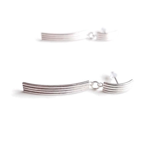 Striped Ribbed Long Dangle Earrings