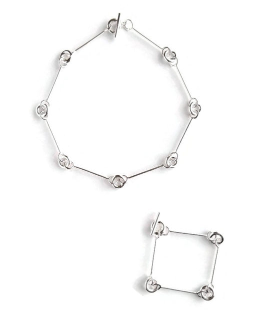 Multi-combination torus necklace - silver - presented as choker and extension chain bracelet set