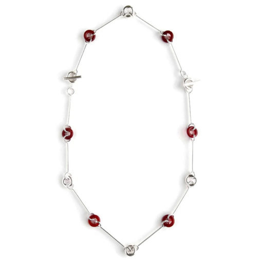 Cruise necklace - Silver and Burnt Orange Carnelian