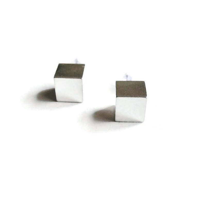 Silver Cube Stud Earrings on white background