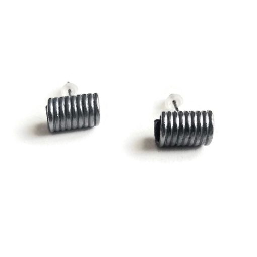 Curl studs - mini - oxidised silver