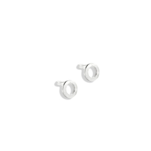 Urban Chic - Nought Stud Earrings - in sterling silver - on white background