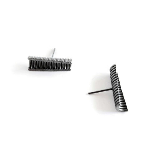 Concave U channel studs - silver - oxidised