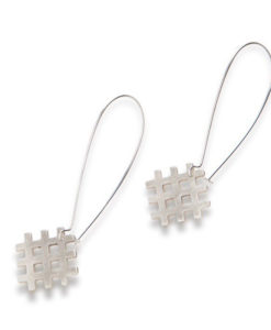 Grid Dangle Earrings - all silver - on hooks